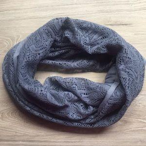 Grey lace infinity scarf